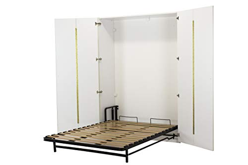 WallBedKing - Cama de pared (cama de matrimonio, cama plegable, cama de pared, cama de invitado) en armario (doble, blanco)