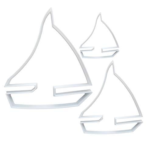 Ausstechform für Yacht, Segelboot, Teig, Kekse, Gebäck, Segelfahrzeug, Schablone, Strand, scharf, Schiff, Ozean, Fondant, 3 Stück