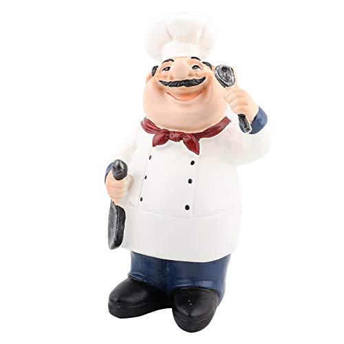 HEEPDD Koch Figur, American Land Koch Harz Statue für Home Küche Restaurant Cafe Tabletop Decor Sammlerstücke Housewarminggeschenke(Koch hält Löffel)