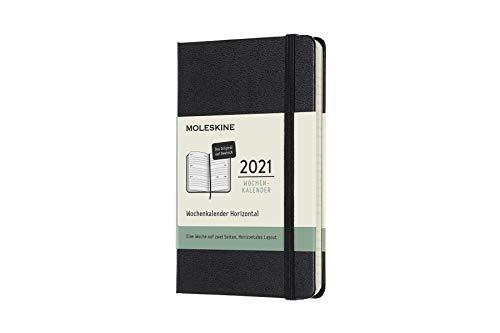 Moleskine Wochenkalender 2021, 12 Monate Wochenplaner horizontal in Deutsch, fester Einband, Format Pocket 9 x 14 cm, Farbe schwarz, 144 Seiten