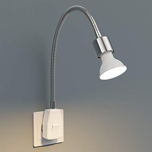 ledscom.de Steckdosenlampe LESCH Leselampe Schwanenhals Schalter Chrom + smarte GU10 LED Lampe Alexa dimmbar 4W 380lm warm-weiß