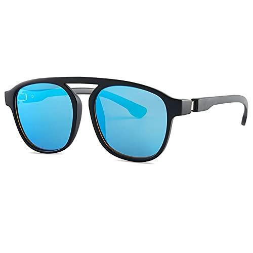 JINZUN Gafas de Sol de Moda para Hombres y Mujeres de Tiro Callejero con el Mismo párrafo Gafas de Sol Tendencia Gafas de Sol de Montura Grande protección UV Negro/Azul Mercurio