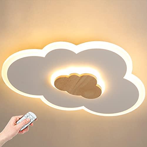 LINCCW DIRIGIÓ Niños Lámpara de techo Moderno Sencillo Forma de nube Lámpara infantil Control remoto Regulable Focos Techo Guardería Lámpara decorativa Para Chico Niña Cuarto L50xW37cm 26W 1800lm