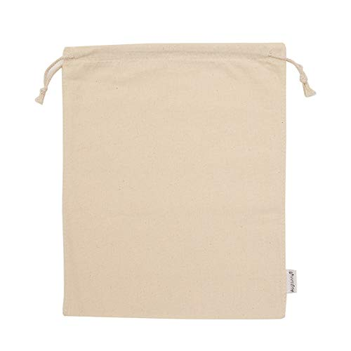 Augbunny 100% Cotton Muslin Bags with Drawstring, 12-Pack