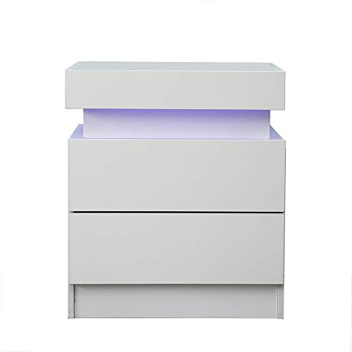 Modern LED End Table & Nightstand for Bedroom - Night Table with Built in Multi-Colour LED High Gloss Backlight - Bedside Cabinet with 2 Drawers for Living Room- Particle Board (White)