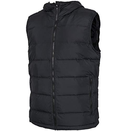 DUOER home Chaqueta de plumón para hombre, con bolsillos con cremallera, para deportes al aire libre, cálida, con capucha, para otoño e invierno, negro, extra-large