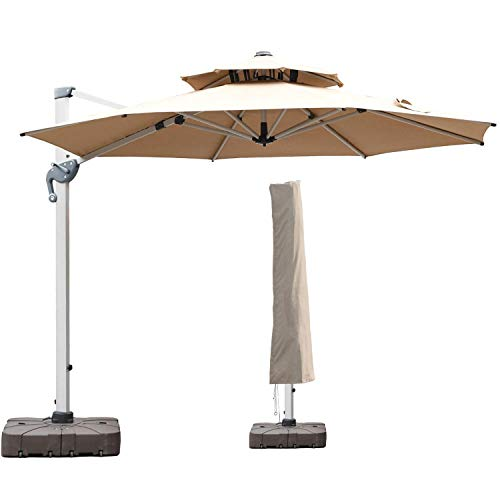 LKINBO 11 FT Offset Patio Umbrella with Cover - 360 Degree Rotation Cantilever Patio Umbrella Large Heavy Duty Outdoor Backyard Umbrella with Easy Tilt & Crank for Pool Deck Porch Market Garden, Khaki