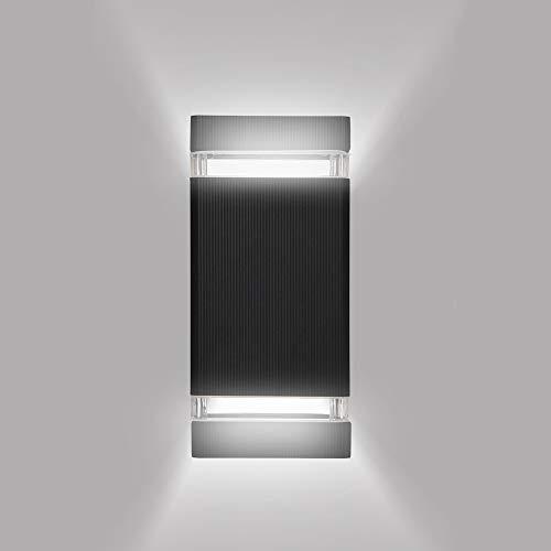 Zerone wandlamp, led, binnen, rechthoekig, 5 W, LED, wandlamp, buiten binnen, modern design, lampenkap zwart, van aluminium, LED-licht, verlichting voor slaapkamer, woonkamer, hal, tuin, erf