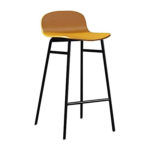 ZXZXZX Taburetes Altos Silla de Bar con Respaldo Silla de Cocina Asiento de Cuero PP y Marco de Acero Resistente Asiento de 89cm de Alto Fácil Montaje Estilo Industrial Vintage 5 Colores