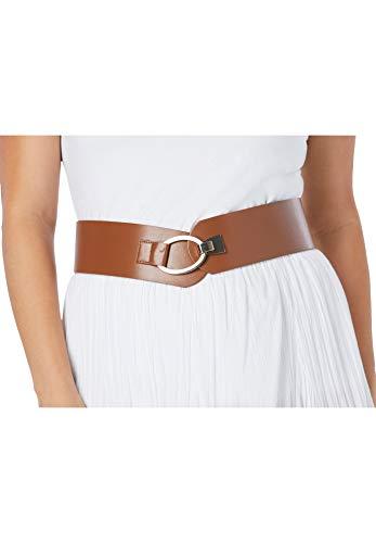Jessica London Women's Plus Size Contour Belt Vegan Leather Made In Usa - 26/28, Saddle