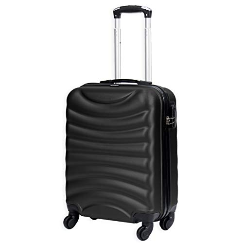 Lightweight 4 Wheel Hard Shell Luggage Suitcase Rynair Cabin Travel Bag - ABS822 (Black)