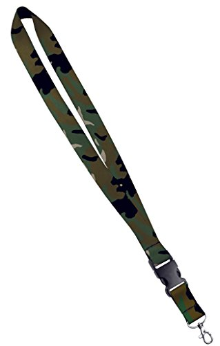 Bedrucktes Schlüsselband, Satin, mit seitlicher Schnalle und Druckknopf, Ausweishalter, 1,9 cm oder 2,5 cm 1 Inch camouflage