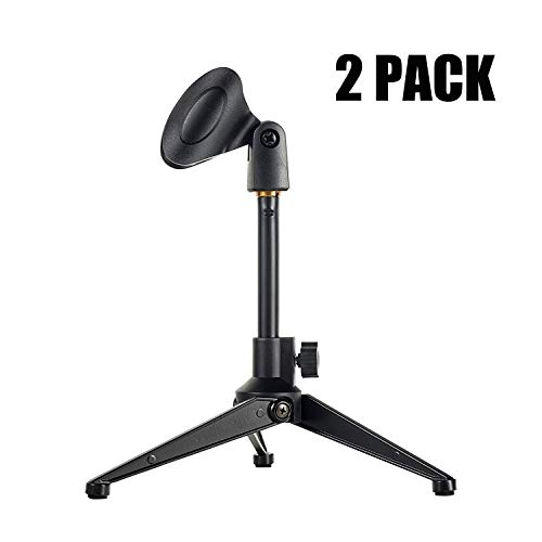 2-Pack Universal Desktop Microphone Stand Portable Adjustable Foldable Desk MIC Stand with Microphone Clip