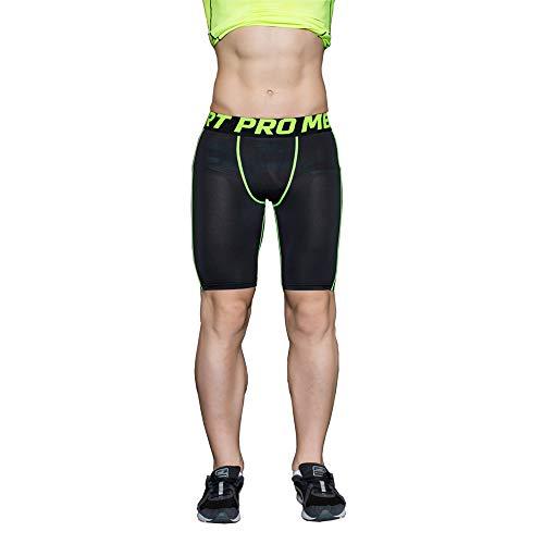 UrChoiceLtd® 2017 QX Sports Pantalones De Piel Leggings De Compresión Base De Capa Quick Dry Running Pantalones Cortos Baselayer Mens (L, Black Green)