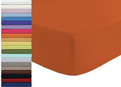 Tata Home Lenzuolo sotto con Angoli ed Elastici 100% Cotone Misura cm 180x210 Letto Matrimoniale Due Piazze Altezza cm 25 Colore Arancio Made in Italy 57 Fili al cm2