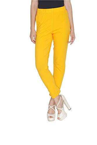 Womens Plain Cotton Stretch Pants Elastic Closure One Pocket Comfortable Dress Pants (Yellow, One Size)