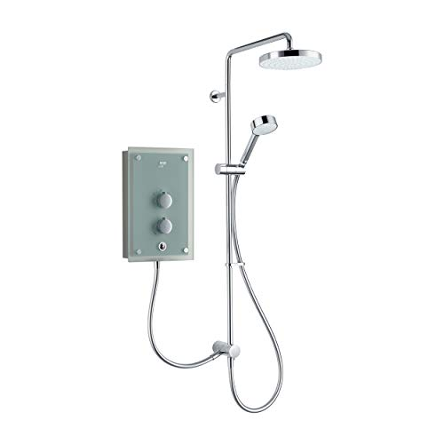 Mira Showers 1.1634.156 MIRA AZORA Dual 9.8 KW Electric Shower, Frosted Glass
