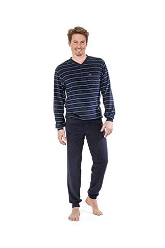 hajo Herren Pyjama Frottee Zweiteiliger Schlafanzug aus Naturbaumwolle in Streifen