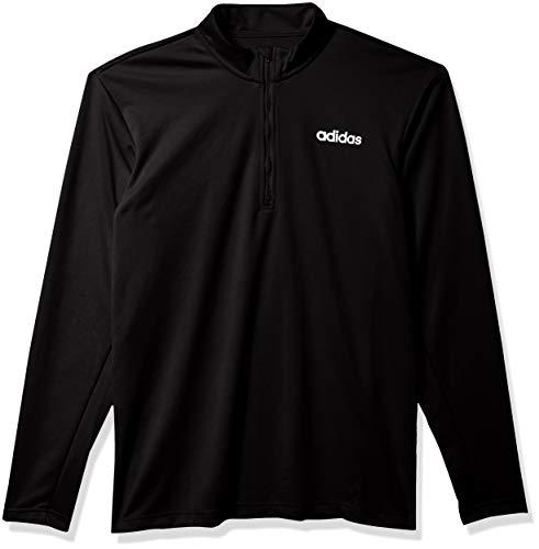 adidas D2m Clima - Camisa de Manga Larga con Cremallera de 1/4 para Hombre, Hombre, Camisa, GVD42, Negro, XXXL Altura