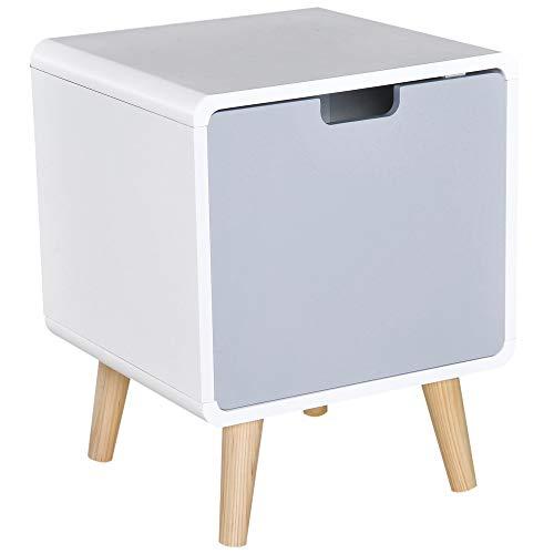 HOMCOM Nachttisch Nachtkommode Beistelltisch modernen Design Hochglanz mit 1 Regal Schlafzimmer MDF weiß L40 x B38 x H50cm
