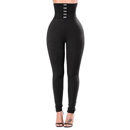 Pantalons de sport Femmes Toamen Pantalon de yoga boutonné Longue section Les hanches Taille haute Pantalon de fitness Yoga Gym Mode pantalons de survêtement (XL, Noir)