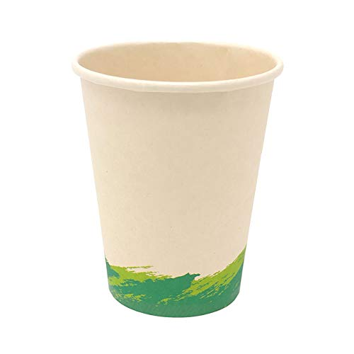 50 Vasos de Café Desechables, Vasos de Fibra de Bambú Biodegradables y Compostables Material 100% Ecológico Sin Tapa Eco Friendly 50 Vasos de Café para Llevar 300 ML 10.14oz