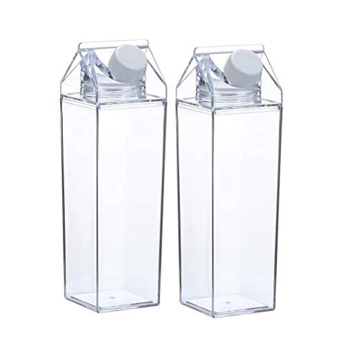Amiispe Klare Wasserflasche Wiederverwendbare Milchkarton Wasserflasche Kunststoff Limonade Saft Getränk Glas Eistee Flasche
