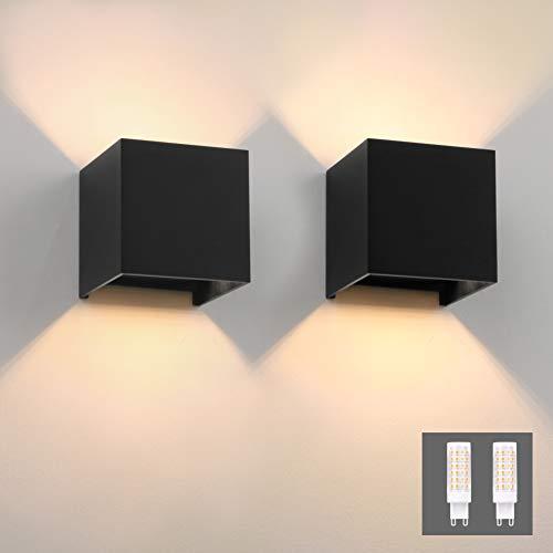 Klighten 2 Stücke LED Wandleuchte Innen Modern Up Down Wandlampe Mit Einer Ersetzbaren G9 LED Birne IP54 LED Wandbeleuchtung Innen & Außen Warmweiß 3000K Schwarz