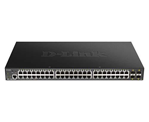 D-Link DGS-1250-52XMP Switch Smart+ 48-Port Gigabit PoE + 4x 10G SFP+, Budget PoE 370W - Idéal pour Entreprise Administration et Réseaux Gérés