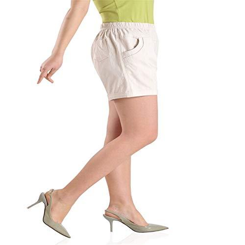 Pantalones De Verano De Color Fino De Alta Elasticidad De Gran TamañO para Mujeres De Mediana Edad Y Ancianas De AlgodóN EláStico De Cinco Puntos para Mujer