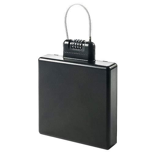 イーサプライ セキュリティボックス ダイヤル式 4桁 暗証番号 大きめ ワイヤー付き クローゼット 貴重品 印鑑 通帳 防犯 EEX-SLRL983