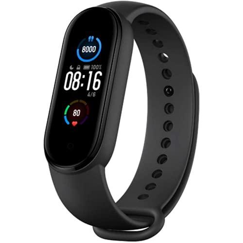 """NK Mi Band 5 - Reloj Inteligente con Pulsera de Actividad, Pantalla AMOLED 1,1 """", Monitor Frecuencia Cardiaca, 11 Modos de Entrenamiento, 5 ATM, Color Negro"""