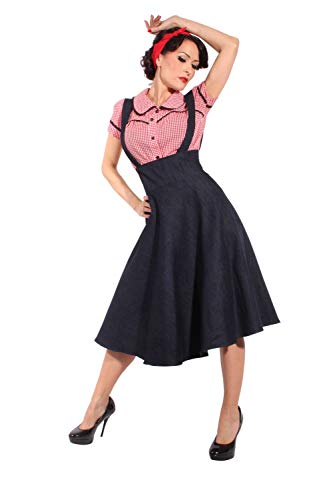 Retro Rockabilly Hosenträger Vintage Swing Rock Tellerrock Denim