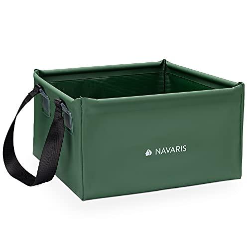 Navaris Cubo Plegable para Camping de 15 L - Accesorio para Pesca Acampar excursión - Cuenco de Lona con Asas para Agua Hielo Lavar Fregar - Verde