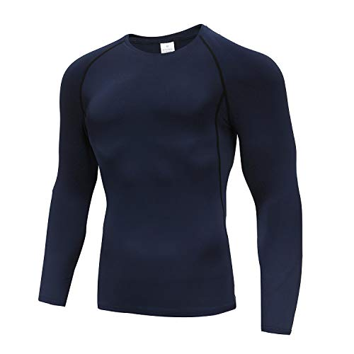 Men's Base Layers Tops, Long Sleeve Gym Running Top Workout T Shirts for Men Blue-L