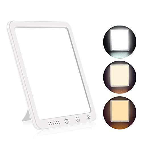 Aourow Tageslichtlampe 10000 Lux,LED Sonnenlicht Lampe mit 5 Helligkeitsstufen und 3 Lichtfarben,Ausgleich von Lichtmangel,Tageslicht Lampe LED gegen Depressionen,Flimmerfrei und UV-frei