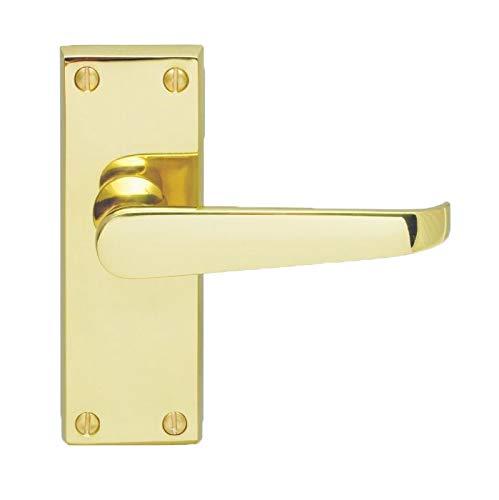 Carlisle Brass - Juego de manillas de puerta rectas victorianas de latón pulido para puertas interiores de 118 x 42 mm placa
