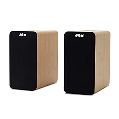 "JAM Bluetooth Bookshelf Speakers - Compact, Mains Powered Dual Speaker System, Aux-in Function, 4"" Driver, High Definition Amplifiers, Richer Bass, Finer Acoustics - Wood from FKA Brands"