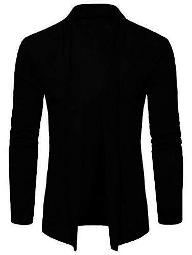 PAUSE Black Solid Lapel Collar Slim Fit Full Sleeve Men