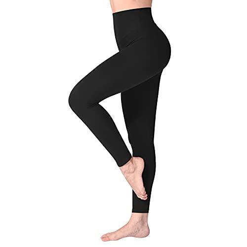 SINOPHANT Hochtaillierte Leggings für Damen - Angenehm Weiche Elastische, Dehnbare Sport- und Yogahosen , 1er Pack Schwarz, S-L (Herstellergröße: ONE SIZE)
