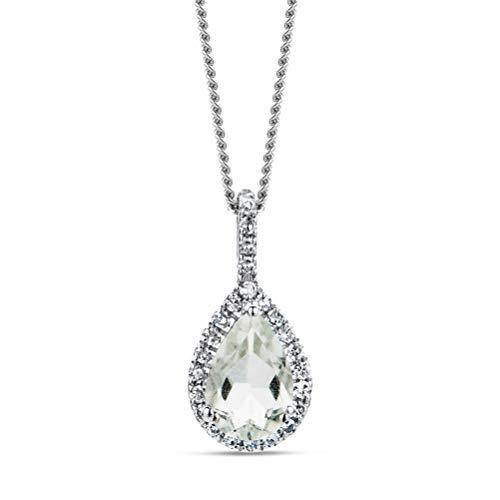 Miore - Collar para mujer de oro blanco de 9 quilates / 375 con colgante de piedras preciosas de amatista verde y diamantes de 0,06 quilates, longitud de 45 cm