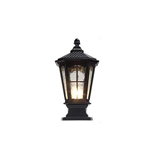 Traditional Outdoor Post Light Pier Mount Mediterranean Street Lantern Glass Door Column Tabletop Lighting for Deck Patio House Driveway Pillar Lamp (Color : Black)