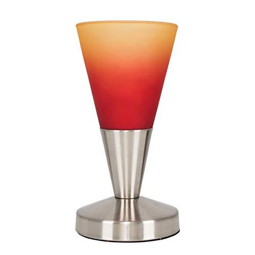 MiniSun - Lámpara de mesa táctil - Forma cónica - Níquel y cristal rojo anaranjado - Iluminación interior - Lámpara sobremesa moderna - Mesilla de noche