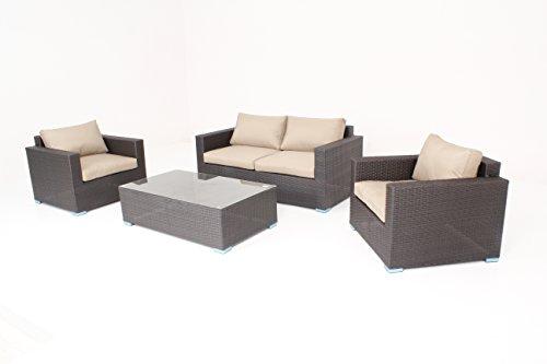 husen 4pcs Luxury Wicker Patio Sectional Indoor Outdoor Sofa Furniture Set T017a