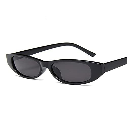 Lsdnlx Gafas de Sol,Gafas de Sol rectangulares Vintage para Mujer, diseño de Ojo de Gato para Mujer, Montura pequeña, Gafas de Sol Negras y Rojas