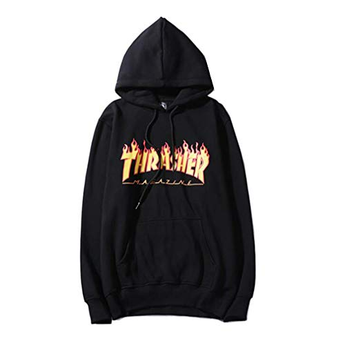 Fashion Flame Print Loose Hoodie for Men/Women