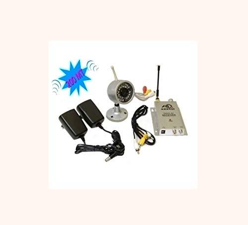 GrecoShop Kit videosorveglianza Wireless Ricevitore 200m con Telecamera ad infrarossi