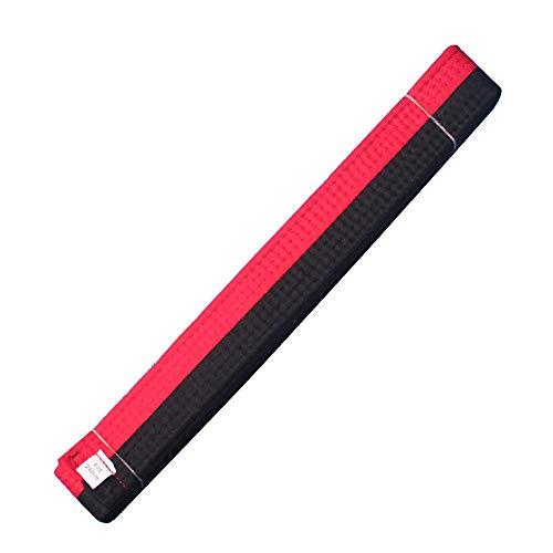 HongH Adult Taekwondo Belts Cotton Martial Arts Uniform Judo Karate TKD Jujitsu BJJ Aikido Kempo Rank Belt Accessories (Red Black)