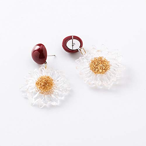 JINGM Boucles d'oreilles en Acrylique À Fleurs Transparentes pour Femmes Temperament Sweet Dangle Jewelry