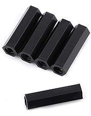 Akozon 250pcs Standoff M2 M3 Tornillo y Tuercas Maletero Separador Negro Nylon Hexagonal Separadores Surtido Nuts Conjunto Con Caja De Plástico